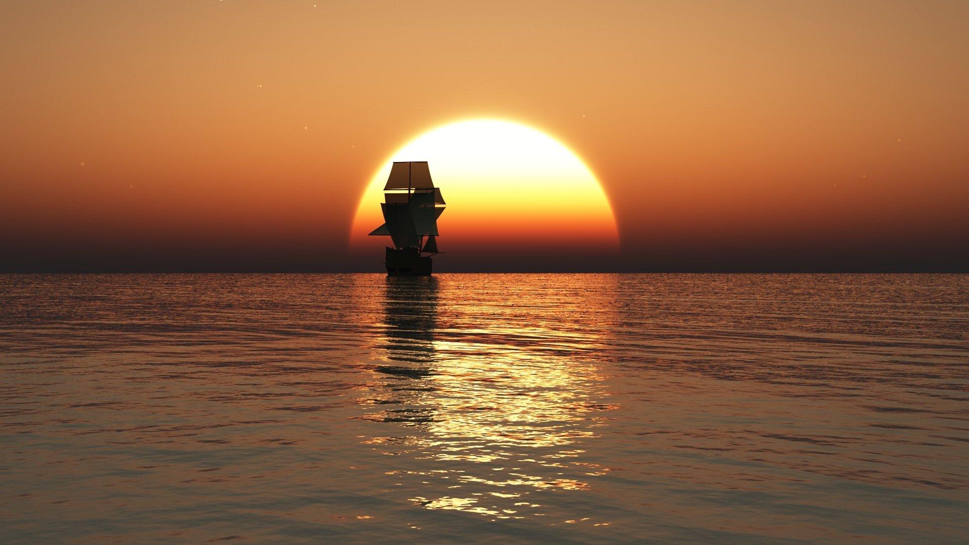 для картинка корабль уходит в море на закате даже можете